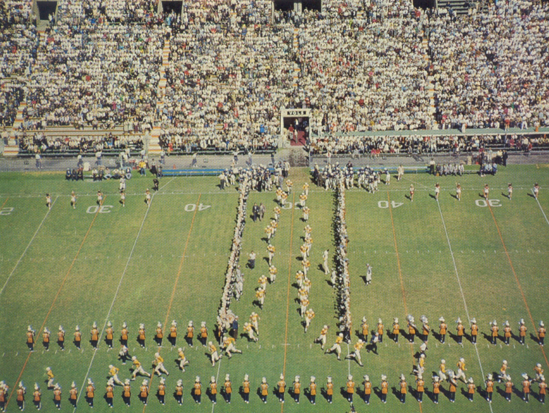 """The University of Tennessee """"Pride of the Southland Marching Band"""" opens the """"T"""" before the Sept. 25, 1965, Auburn game."""