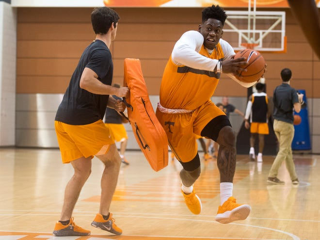 Tennessee forward Admiral Schofield (5) during basketball practice at Pratt Pavilion on the University of Tennessee's campus on Thursday, October 4, 2018.