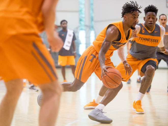 Tennessee guard Jordan Bone (0) during basketball practice at Pratt Pavilion on the University of Tennessee's campus on Thursday, October 4, 2018.