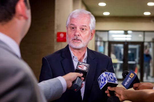 Attorney Gary Mcgoffin speaking with media after Lafayette City Marshal Brian Pope was found guilty Wednesday evening on one count of perjury and three counts of malfeasance in office. . Wednesday, Oct. 3, 2018.