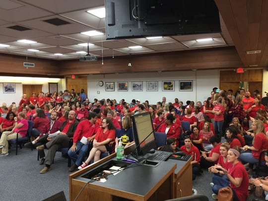 An overflow crowd of teachers filled the Lafayette Parish School Board meeting room on Oct. 3, 2018.