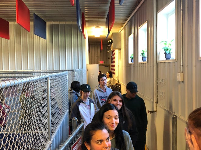 About 80 Ohio State University animal studies students recently visited the Fairfield County Dog Shelter to learn about its operations.