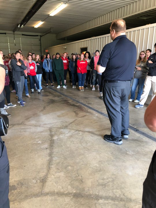 Fairfield County Dog Warden Todd McCullough speaks to Ohio State University students who recently visited the dog shelter.