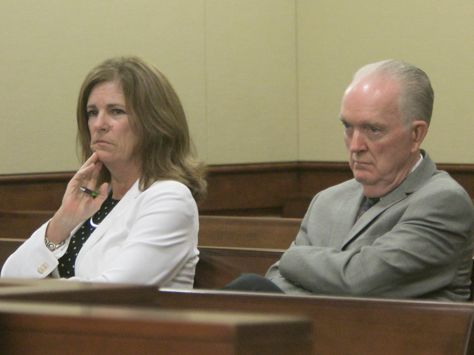 Judge Theresa Brennan's sister Denise Brennan-Nelson and uncle Vince Brennan listen to testimony in the Judicial Tenure Commission hearing Thursday, Oct. 4, 2018.