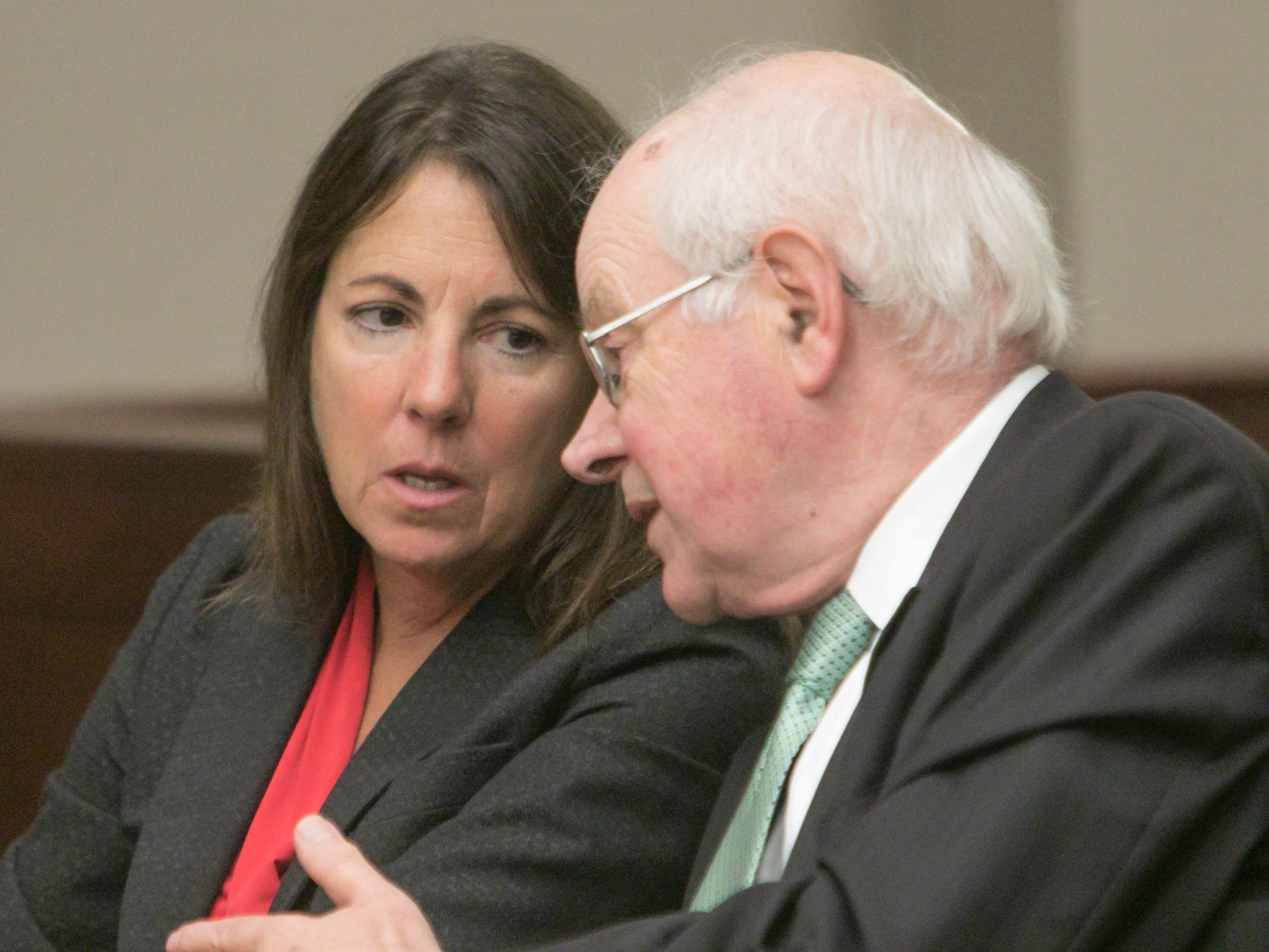 Judge Theresa Brennan confers with her attorney Dennis Kolenda at a Judicial Tenure Commission hearing Thursday, Oct. 4, 2018.