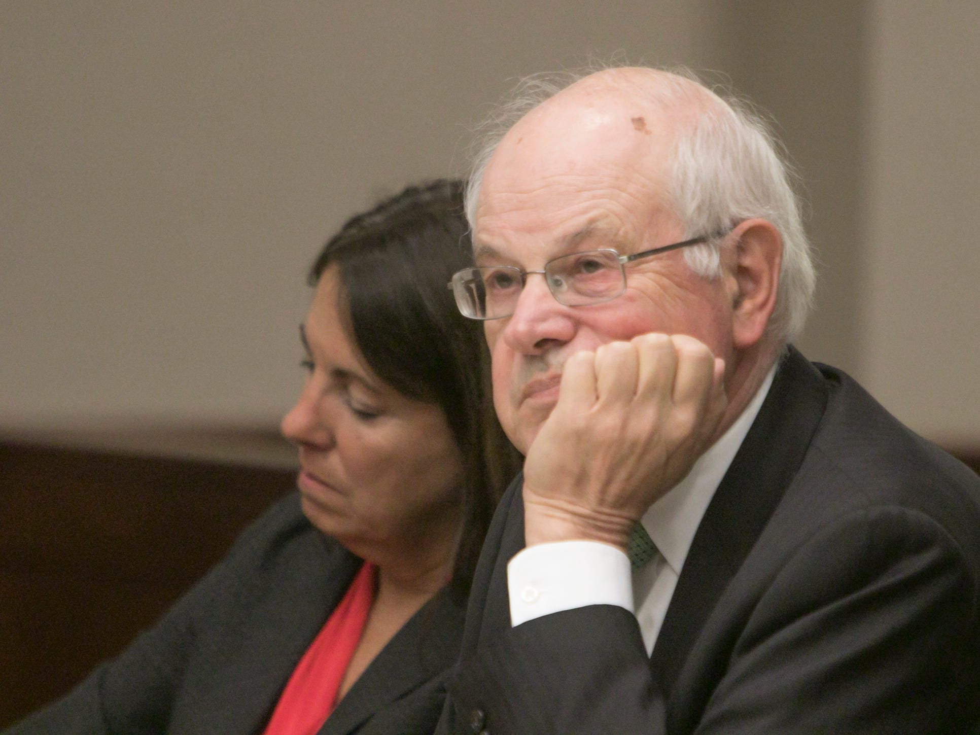 Judge Theresa Brennan and her attorney Dennis Kolenda listen to testimony from civil clerk Lisa Bove in the Judicial Tenure Commission hearing Thursday, Oct. 4, 2018.