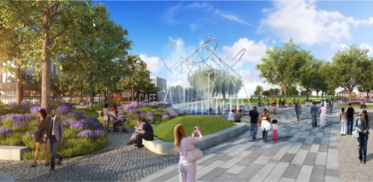 A concept rendering of Confluence Plaza at Waterfront Park, which mixes public art with an interactive water feature.