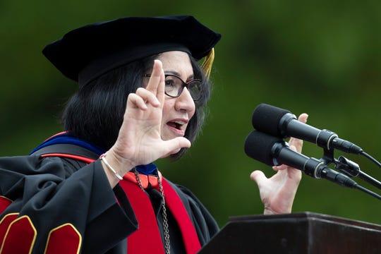 Dr. Neeli Bendapudi speaks during her inauguration  as the 18th president of the University of Louisville on Thursday. Oct. 4, 2018