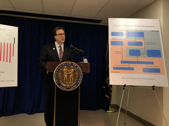 State Auditor Mike Harmon presents his findings on KentuckyWired, the long-delayed statewide broadband project.