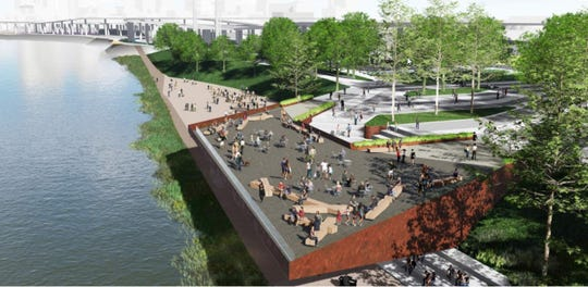 A concept rendering of the observation pier at Waterfront Park.