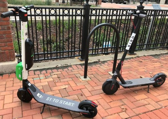 There are two brands of motorized scooters that now have a presence in downtown Lansing: Lime and Bird.