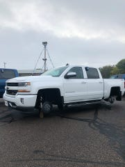 Tires were taken off a Chevy Silverado truck on Wednesday morning at Gross Motors in Neillsville.
