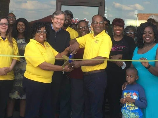 Phil Trenary and Rev. Roger Brown at the April ribbon-cutting for the new Meals for You business launched by The Stone CDC in South Memphis.