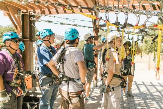 Promega employees in California included zip lining in their mindfulness training.