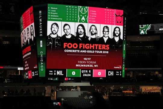 The scoreboard at Fiserv Forum lets fans attending the Bucks exhibition opener that the Foo Fighters will be in town in a couple of weeks to play a concert at the new downtown arena. Promoters for shows booked for Fiserv Forum have said there's an advantage with the Milwaukee Bucks operating the arena because one marketing department overlooks the team and arena events.