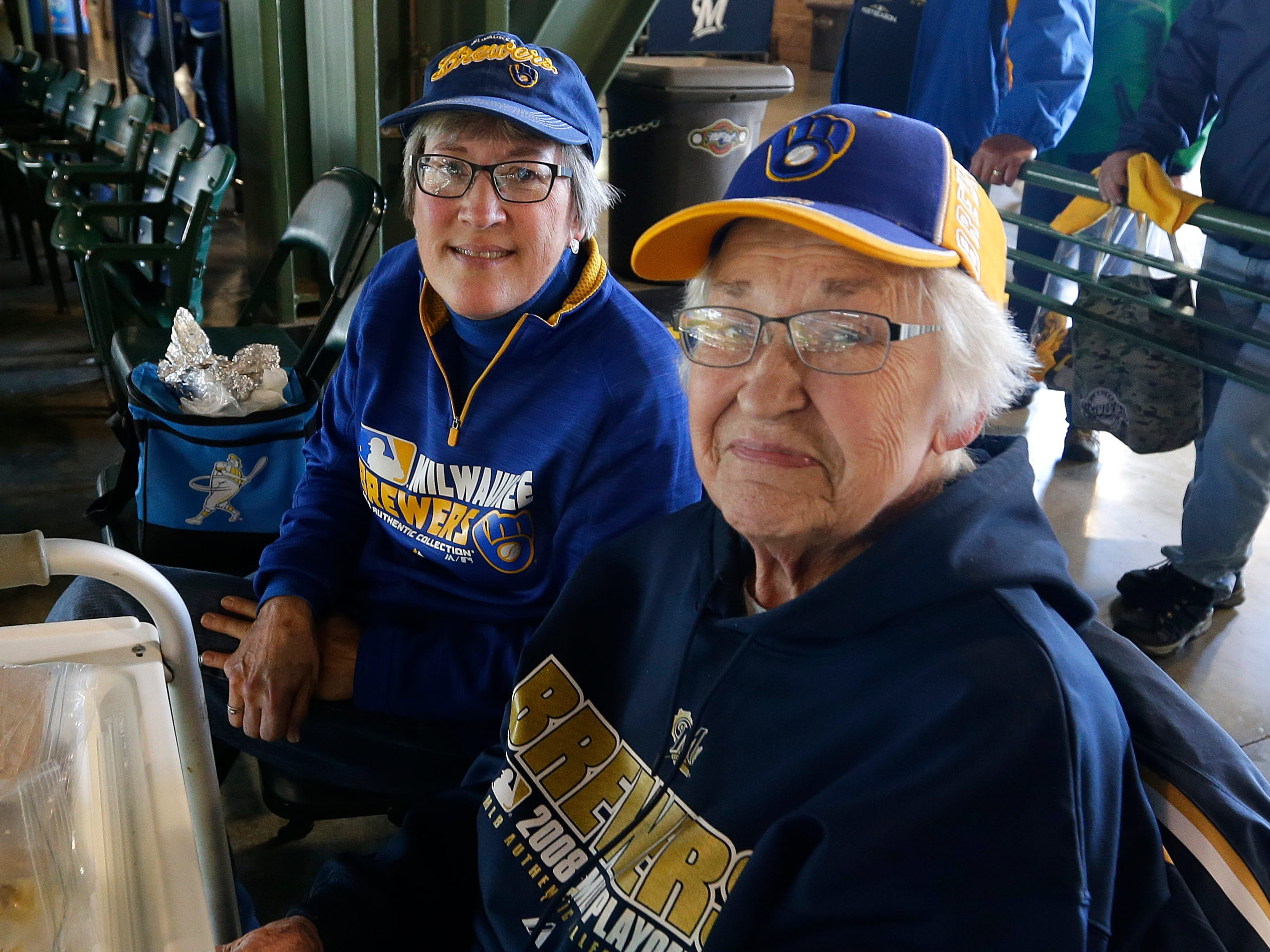 Jody Szudajski of Mequon brought her mother, Dolores Malonee, 96, of South Milwaukee, to the Brewers' playoff game Thursday.