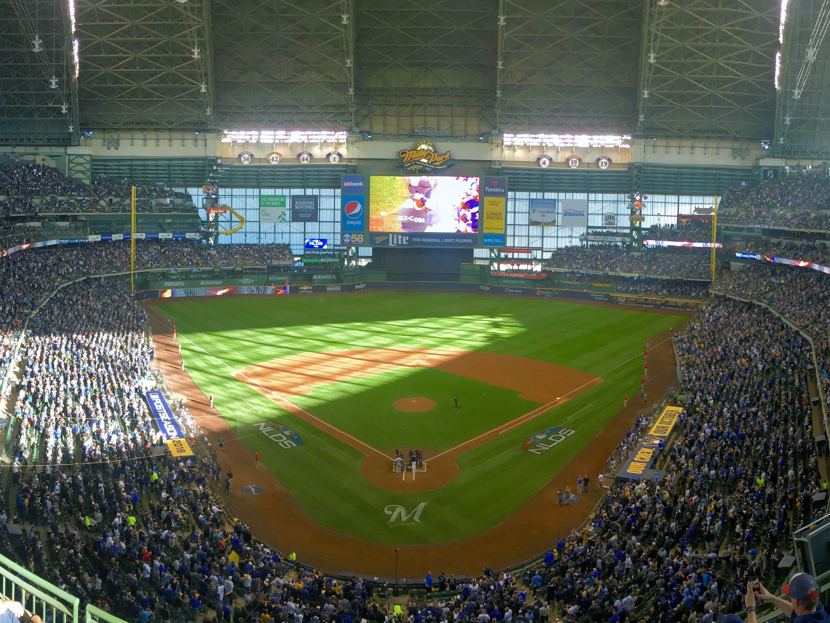 A sold-out Miller Park is pictured just before the start of the Milwaukee Brewers National League Divisional Series game against the Colorado Rockies on Thursday.