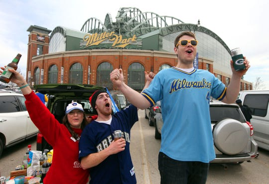 Brewers fans tailgate before a Brewers game at Miller Park.