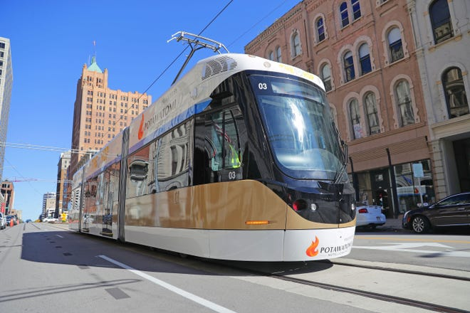 The Milwaukee streetcar — known as The Hop — does a test drive as it heads south on North Broadway near East Michigan Street  on Thursday, October 4, 2018. While much of the testing to date has been done in the evening and overnight hours, daytime testing began on Monday this week. Work is being done to train the drivers in getting familiar with the routes and operating according to the actual schedule.  The grand opening of the streetcar will be Nov. 2.