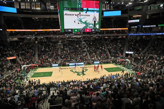 The first regular-season game at Fiserv Forum is Oct. 19. The Bucks hosted the Chicago Bulls in an exhibition game Oct. 3.