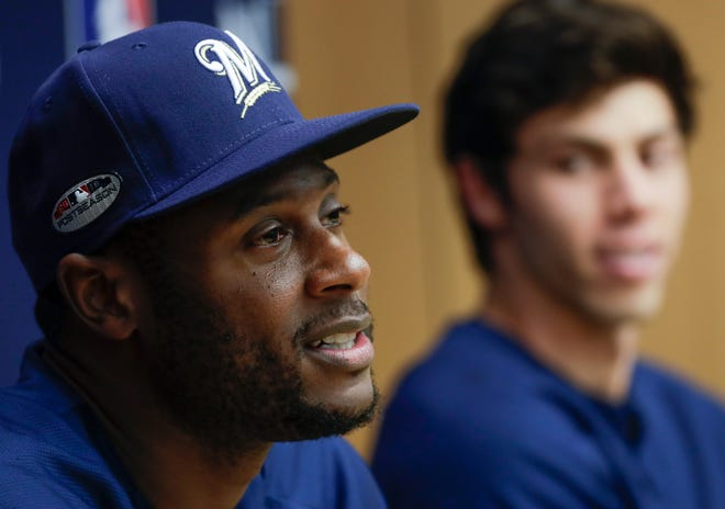 Lorenzo Cain, left, and Christian Yelich have been a sensational tandem in their first season playing together for the Brewers.