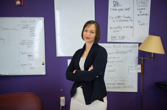 Tabitha Isner, candidate for U.S. Rep. for Alabama District 2, poses for a portrait at her campaign office in Montgomery, Ala., on Thursday, Oct. 4, 2018.