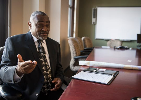 Rayford Mack, candidate for House District 74, sits down for an interview with the Advertiser in Montgomery, Ala., on Thursday, Oct. 4, 2018.