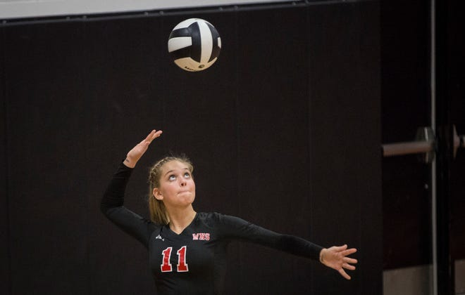 FILE -- Wapahani's Emma Shuck serves a ball against Cowan during a match in 2018. The Raiders are 8-1 to start the 2019-20 season.