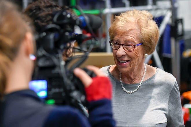 "Eva Schloss, seen in 2015, has authored three books and travels the world to speak about her past and relation to Anne Frank, hoping to ""teach people about the dangers of racism and discrimination against a certain group of people."""