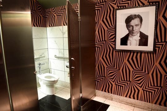 The ladies room at the Sinema Restaurant and Bar is fashioned after an old Hollywood dressing room in Nashville.