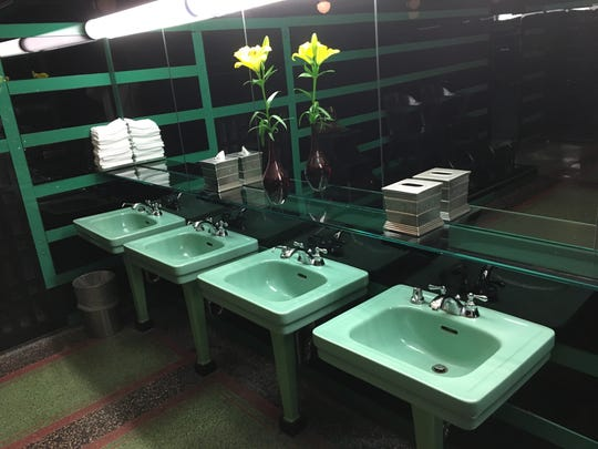 The sinks in the men's room at the Hermitage Hotel.