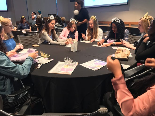 Girls from Lee County schools play ice breaker games at the second annual L.E.A.D Like a Girl symposium held at Florida Southwestern State College on Thursday, October 4th.