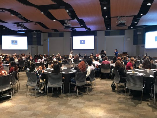 Nearly 150 middle school and high school students in Lee County attending the second annual L.E.A.D Like a Girl symposium at Florida Southwestern State College on Thursday, October 4th.