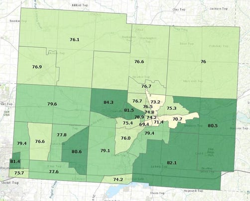 The map shows life expectancy based on geographic area in Licking County.