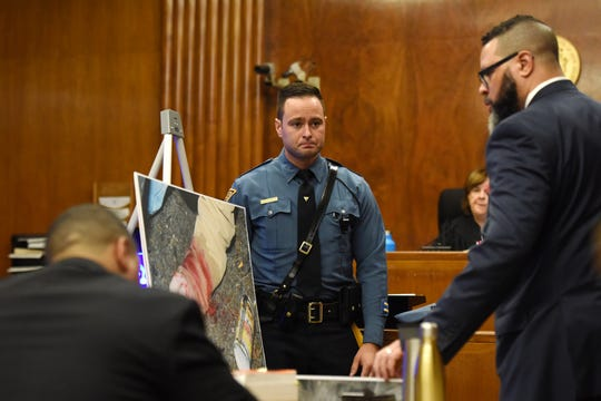 Jared Clackner, of Denville, is on trial in Bergen County Superior Court for killing his friend William Henning after a ZZ Top concert in 2015. Clackner is charged with aggravated manslaughter in the death of Henning. NJ State Trooper John Sousa answers questions from Bergen County Asst. Prosecutor Daryl Williams on October 4, 2018. Sousa was one of the first to arrive on the scene on Rt 80W where Henning's deceased body was found in his car.