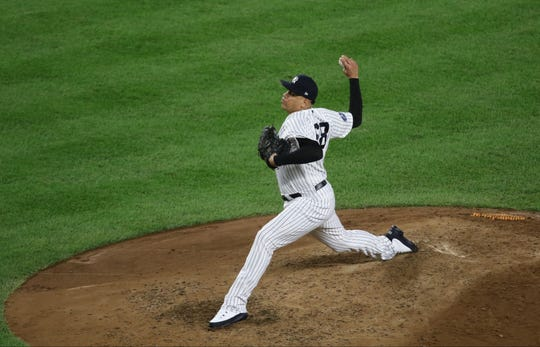 New York Yankees pitcher Dellin Betances, is shown in the fifth inning, after he came in for relief.  Wednesday, October 3, 2018