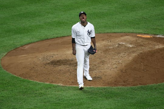 New York Yankees pitcher Luis Severino, is ecstatic after striking out a batter to end the fourth inning to keep his hitless streak alive. Severino pitched four hitless innings before giving up two in the fifth before he was removed from the game. Wednesday, October 3, 2018