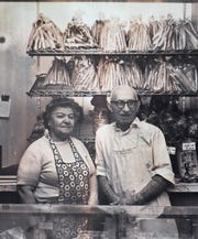 Photo of the grandparents, Siranoush and Haroutioun Toufayan taken at their first bakery in West New York in 1968.