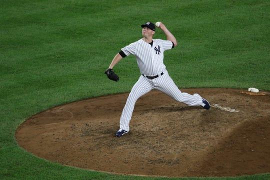 New York Yankees pitcher Zach Britton, pitches in relief, Wednesday, October 3, 2018.