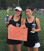 NV/Demarest's Bergen County Tournament large schools 2nd doubles champs Kyri LePree (on left) and Alissa Hsu.