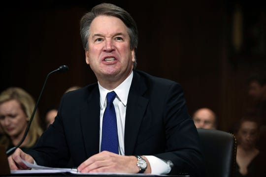 In this Sept. 27, 2018, photo, Supreme Court nominee Judge Brett Kavanaugh gives his opening statement before the Senate Judiciary Committee on Capitol Hill in Washington.
