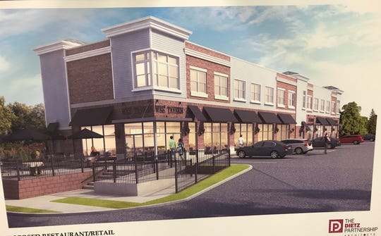 Pictured is an architectural rendering of a new strip mall that was approved for Hamburg Turnpike in Riverdale where Wes' Tavern is located.