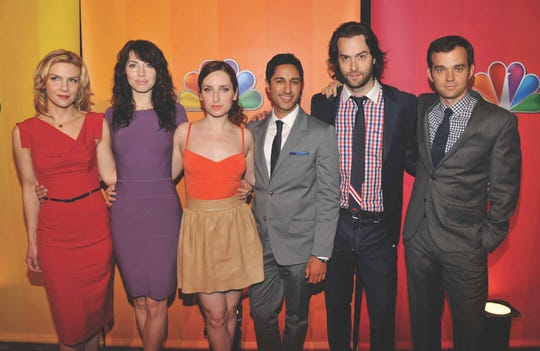 Actors Rhea Seehorn, Whitney Cummings, Zoe Lister-Jones, Maulik Pancholy, Chris D'Elia, and Dan O'Brien attend the 2011 NBC Upfront at The Hilton Hotel on May 16, 2011 in New York City.