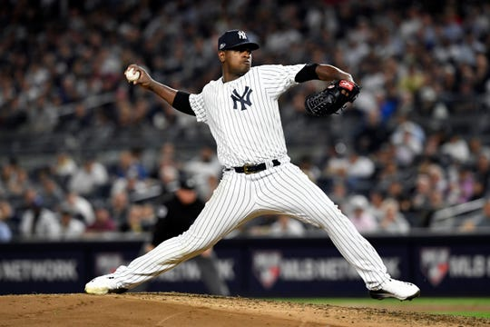 New York Yankees' Luis Severino pitches to the Oakland Athletics in the fifth inning of the American League Wildcard game on Wednesday, Oct. 3, 2018, in New York.