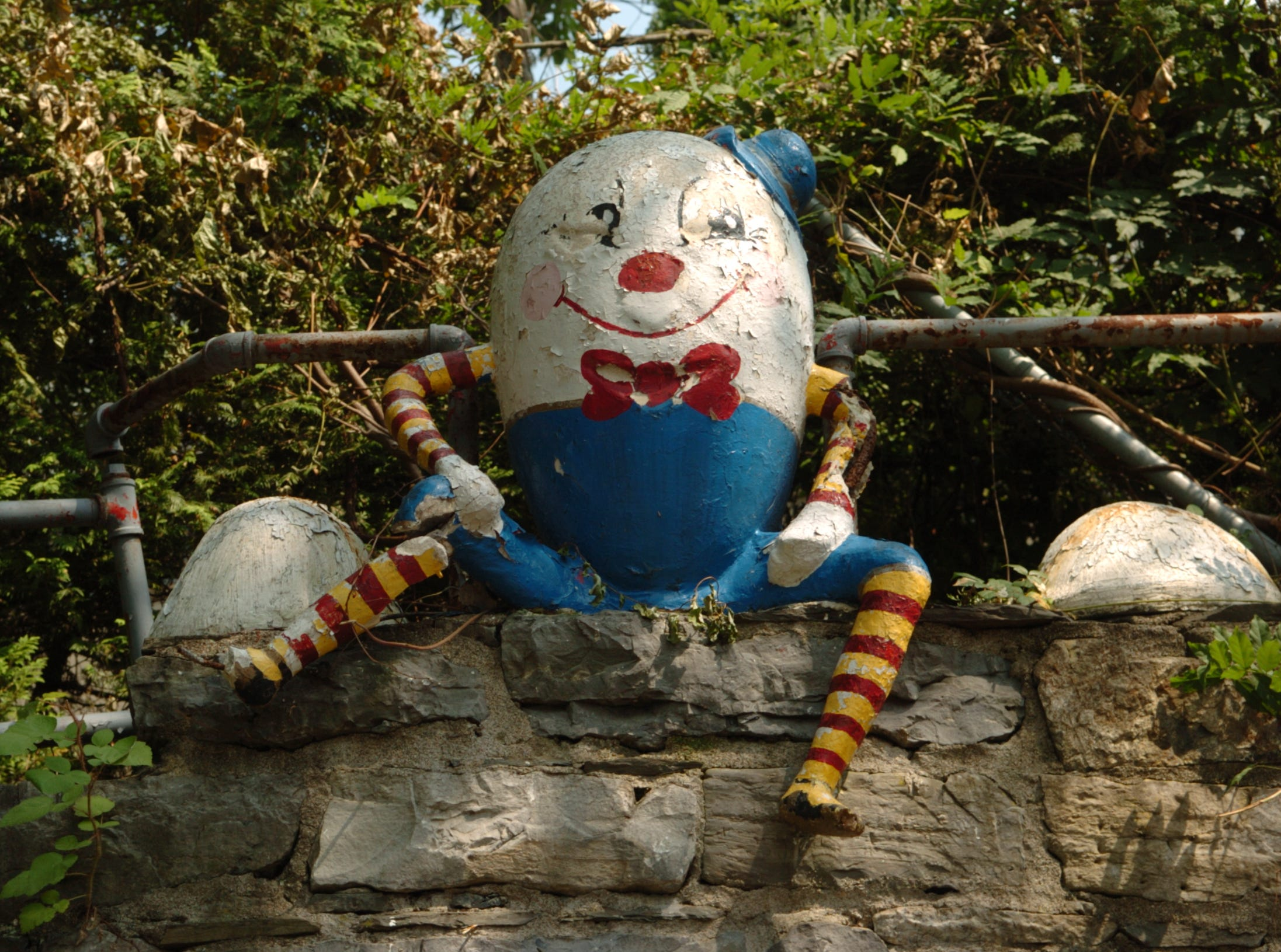2007: Humpty Dumpty sat on a wall, one of the several nursery rhyme scenes at the Gingerbread Castle in Hamburg.