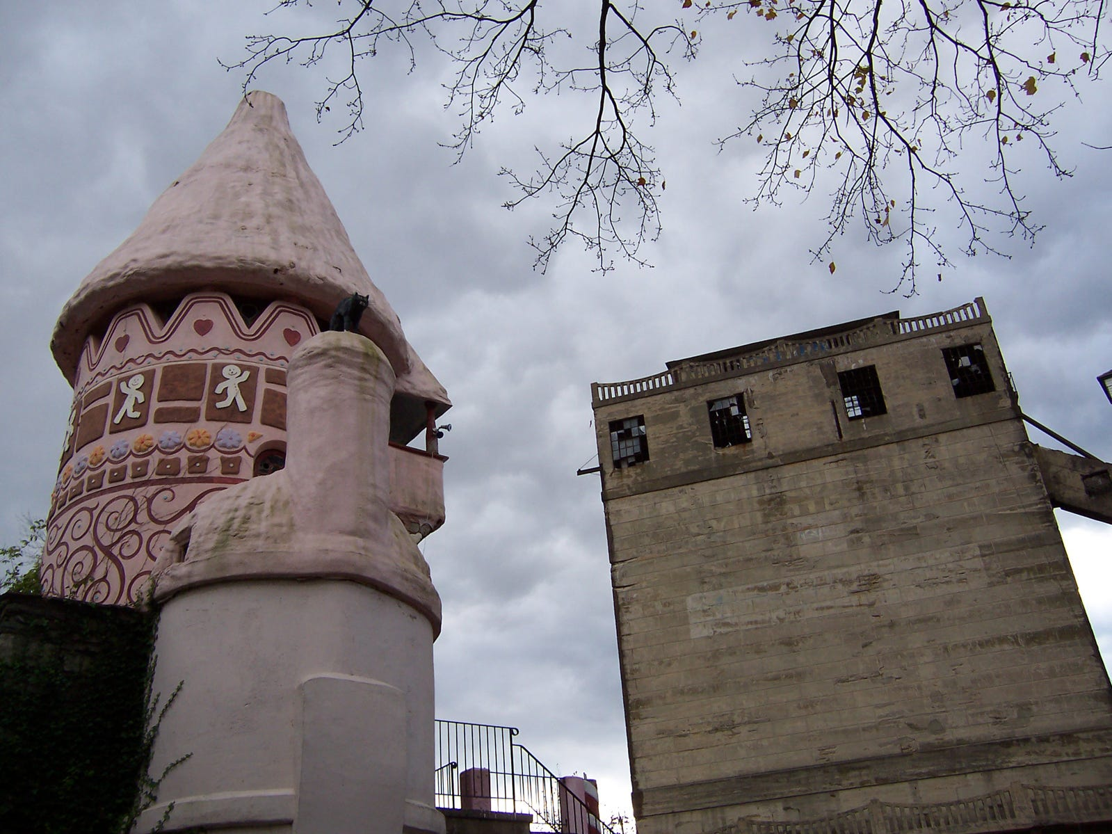 The Gingerbread Castle in Hamburg is flanked by an abandoned factory.