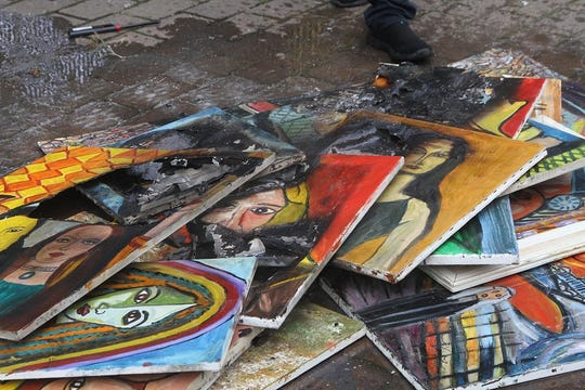 """""""I just snapped,"""" artist Said Elatab said of his decision to burn 20 of his paintings in his back yard."""