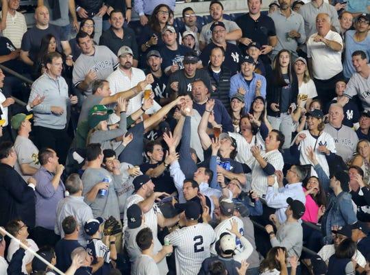 A lucky fan got a souvenir in the first inning.  Wednesday, October 3, 2018