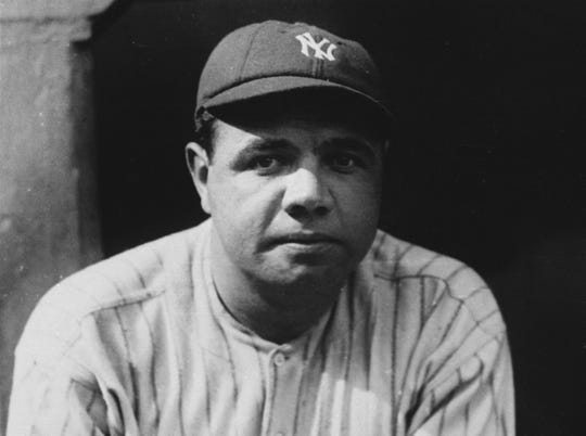 FILE - A 1923 photo of New York Yankees Babe Ruth, considered by many to be the greatest player in baseball history.