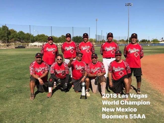 The New Mexico Boomers 55AA Men's Softball Team. Front row, from left: Mike Munoz, Rey Granillo, Antonio Hernandez, Harvey Ladesma and Jesse Padilla. Back row, from left: Manager/player Richard Rodriguez, Sammy Perez,Tommy Parra, Mike Caro and Pio Sanchez. Not pictured: Shawn McKenzie, Julio Rios, and Robert Maese.